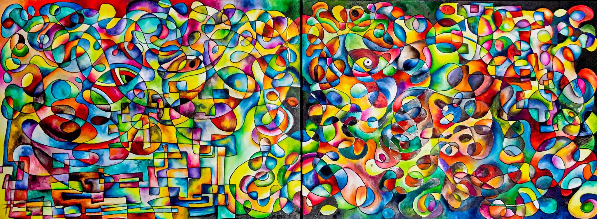 Zwei Leinwände für ein Bild - es pulsiert vor Farbe und Energie.